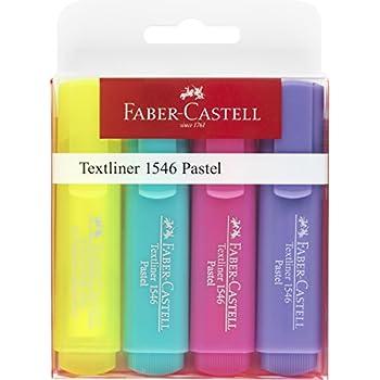 Faber-Castell 154610 Surligneur TEXTLINER 1546 étui de 4 couleurs pastelles (Jaune/menthe/rose/lilas)