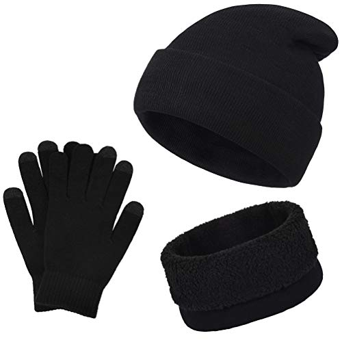 Vbiger Wintermütze Herren Mütze Touchscreen Handschuhe Beanie Warme Mütze Strickmütze Winterschal Herren mit Fleecefutter, Schwarz, Einheitsgröße