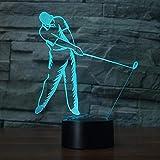 Luce notturna 3D Golf Swing Modeling Led Nightlight 7 colori Atmosfera Golfer Lampada da tavolo Baby Sleep Lighting Holiday Bambini regalo Comodino Decor