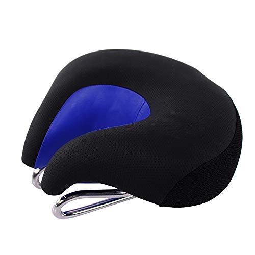 MMLC Fahrradsattel, Gel Fahrrad Sattel, hohl Ergonomisch Fahrradsitz, Künstliches Fett MTB Rennrad Gefedert Tourensattel Herren Damen200x180MM (Blue)