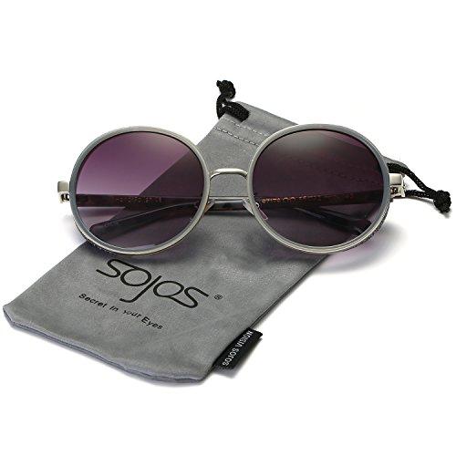 Fett Rahmen Spiegel (SojoS Retro Gothic Steampunk Runde Blingbling Verspiegelt Sonnenbrille Damen SJ2022 mit Grau Rahmen / Grau Linse)