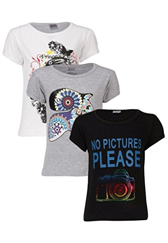 Goodway Junior Gils Stye-9- Black, White, Grey - Combo Pack of 3 T-Shirts