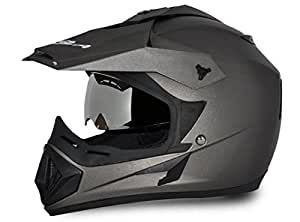 Vega Off Road Full Face Helmet (Dull Anthracite, S)