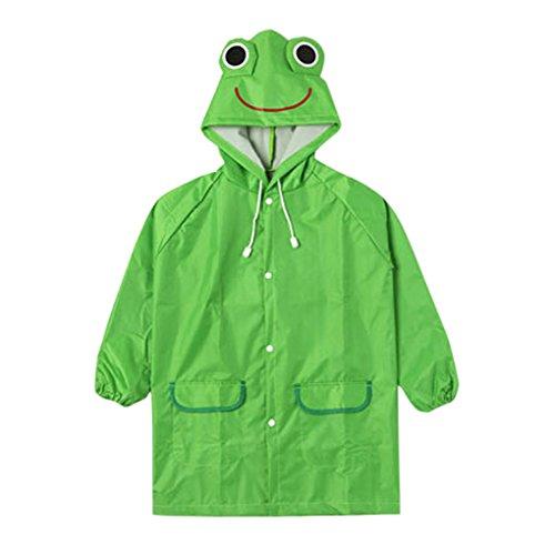 Kinder Regenmantel Lustige Cartoon Regenjacke mit Kapuze für Kinder Schüler Jungen Mädchen Wasserdichte Regenkleidung Raincoat Regencape,Grün