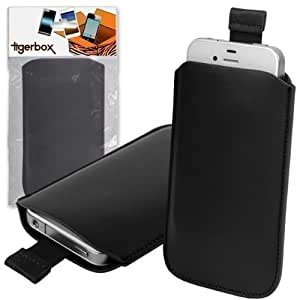 Tigerbox Black Leather Pouch Case with Pull Release Tab For Nokia 800 Lumia Mobile Phone