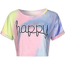 LILICAT® Camiseta Corta para Teen Girls 2018 Moda Summer Gradient Letter Tops con Manga Corta