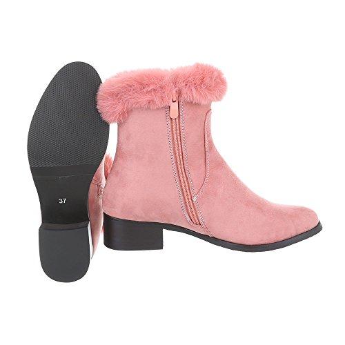 Klassische Stiefeletten Damenschuhe Klassische Stiefeletten Blockabsatz Blockabsatz Reißverschluss Ital-Design Stiefeletten Pink