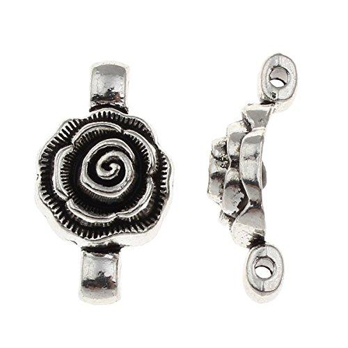 (10 Tibet Silber Metall Anhänger Binderinge Verbinder Geschlossen Ösen Blume M80)