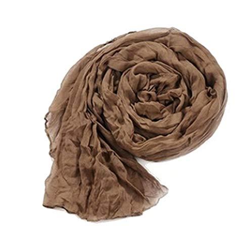 Piccoli monelli foulard donna tinta unita pashmina donna estiva colore marrone larga 175 x 45 cm cotone acetato
