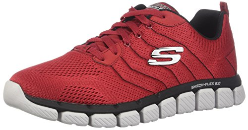 Skechers Herren Skech-Flex 2.0 Sneaker, Rot (Red/Black), 43 EU