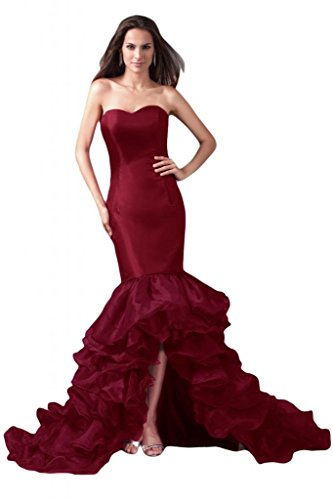 Sunvary elegante sirena raso abito da sera lungo della linea Sweetheart vestito formale Borgogna