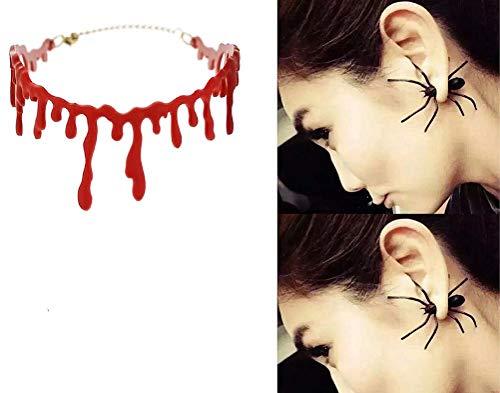 1Paar Weihnachten Halloween Festliche Unisex Ohrstecker Ohrringe (Rot Und Schwarz Gesicht Malen Halloween)