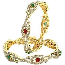 Zeneme Red Green American Diamond Gold Plated Designer Bangles Jewellery For Women / Girls (2.6)