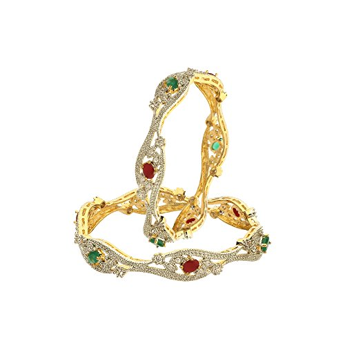 Zeneme Red Green American Diamond Gold Plated Designer Bangles Jewellery For Women / Girls (2.6)