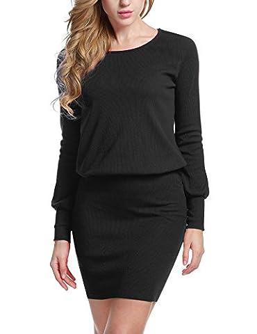 ACEVOG Damen Kleid Strickkleid Sweatkleid Minikleid Etuikleid Pullover Bodycon Langarm Einfarbig in 6
