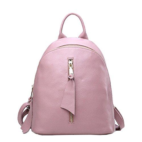 Lady Moda Primo Strato Di Borsa A Tracolla In Pelle Zaino Versatile Pink