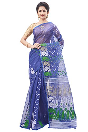 Slice Of Bengal Handloom Tangail Cotton Jamdani Dhakai Saree Blue 101011000333