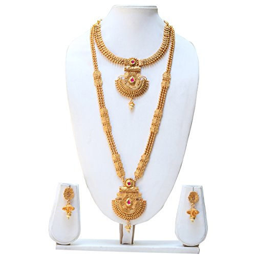 Swaraj Creation Gold copper South indian Haram Necklace set for women