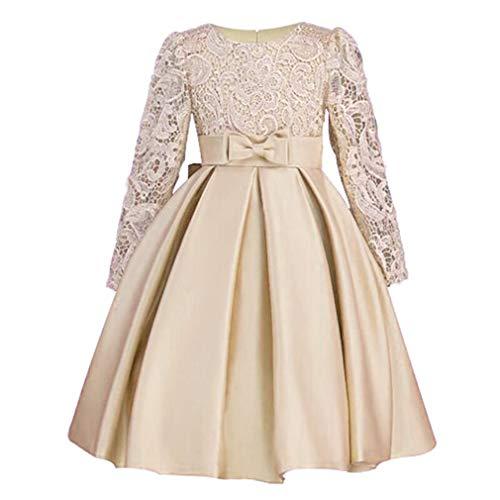 (Mädchen Tutu Party Kleid Kleidung - Phantasie Blume Dressing Up Tüll mit Langen Ärmeln Herbst Winter 120cm (Champagne))