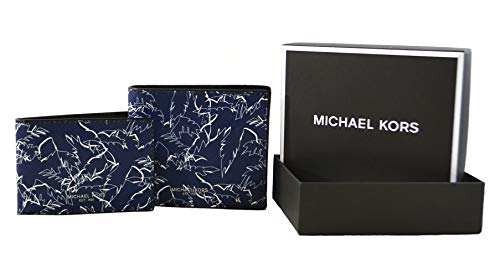 Michael Kors Mens Billfold with Passcase Wallet with Gift Box (Navy)