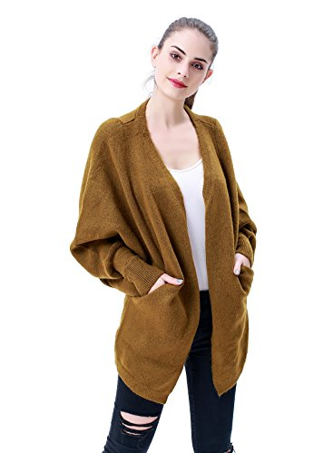 MEEFUR Frauen lose Strickwaren, Batwing Strickjacke, Open Front Jacke mit Taschen, lange ?rmel warme Pullover Mantel Gr¨¹n (Pullover Boot Cuff)