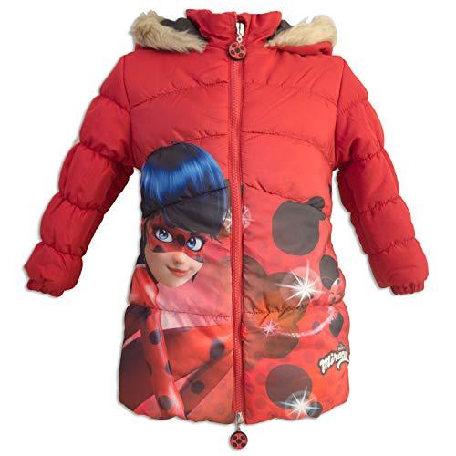 Miraculous ladybug e cat noir - parka giacca giaccone giubbotto piumino sintetico - bambina - inverno - cappuccio bordato con pelo sintetico - prodotto ufficiale 231-057 [rosso - 6 anni - 116 cm]