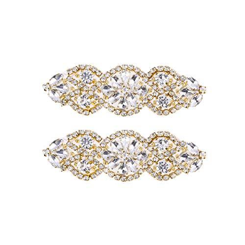 2PC Braut Applique klar Strass Applique, Kristall Braut Gürtel Applique-Silber (Golden White...