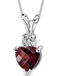 Revoni 14 Karat White Gold Heart Shape 1.50 Carats Garnet Diamond Pendant
