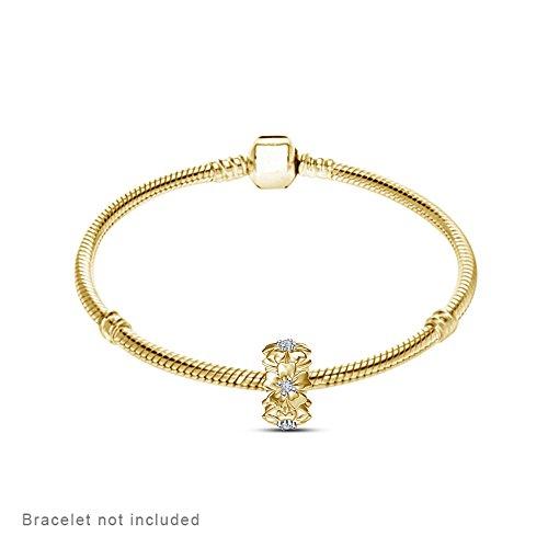 lilu strass Fleur Perle Charm en argent 925pour bracelets de type Pandora/Troll/Chamilia Bracelet chramn Jaune