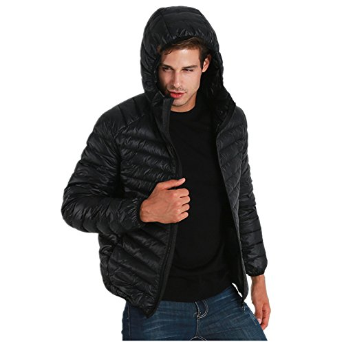 BOMOVO Herren Verdicken Warmen Parka Winter Outdoor Hooded Mantel Schwarz