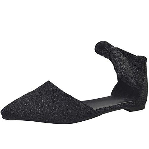 Ankle Strap Flat (Rcool Damen Schuhe Ankle Straps Gürtelschnalle Flats Spitz Zehe Schuhe (39, Schwarz))