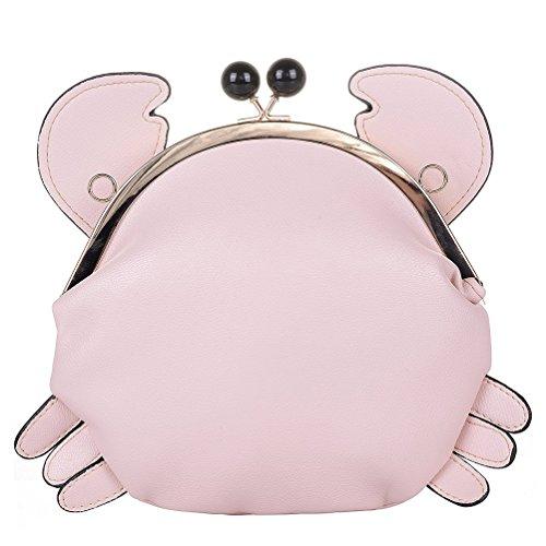Schließung Rot Pink Kleine Handtasche Schließe Citytasche Honeymall Damen Schultertasche Niedlich Krabbe Damentasche Umhängetasche RqfacPw7Ic