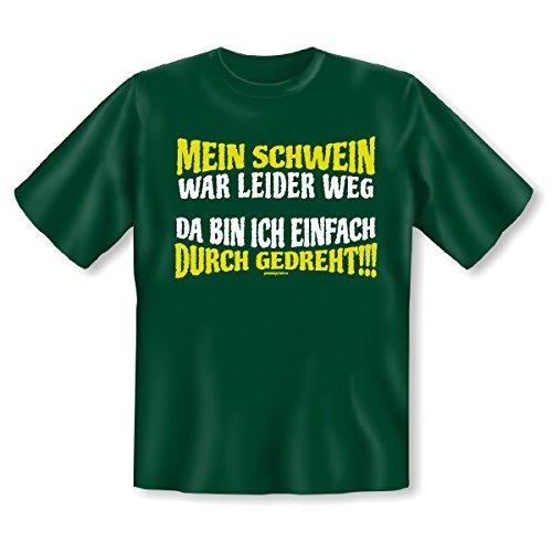 T-Shirt ::: Mein Schwein war leider weg ::: Dunkelgrün (T-shirt Schwein-erwachsenen)