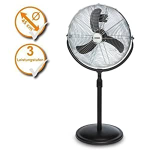 Ventilateur sur pied, diamètre 45 cm, tube télescopique réglable en hauteur, ventilateur (couleur :  noir)
