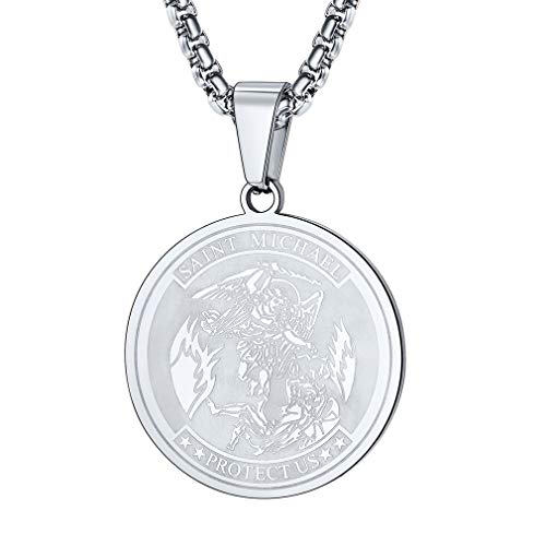FaithHeart Saint Michael Serie, Damen Mädchen Glücksbringer Kette Amulett Schutzengel betet, Edelstahl Halskette für Herren...