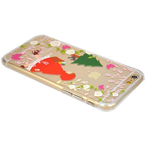 Cover iPhone 5/5S/SE, TrendyBox Cute Case Cover per iPhone 5 5S SE con Vetro Temperato Pellicola Protettiva (Angelo e Coniglio Rosa) Ragazza Rosso