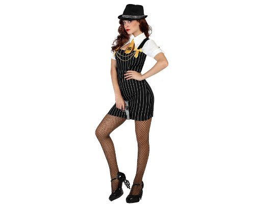 Atosa 22946 - Gangster weibliches Kostüm, Größe XS-S, schwarz/weiß