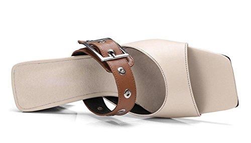 Sommer-Wort Pantoffel weibliche Oberbekleidung dick mit hochhackigen Sandalen und Pantoffeln apricot