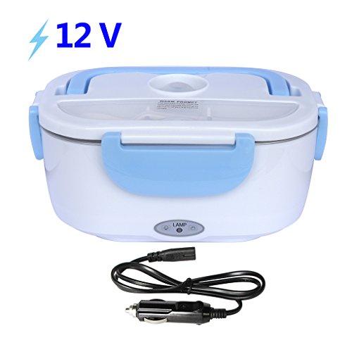 HJL Boîte Chauffante Lunch Box Utilisant en voiture Électrique Boîte à lunch thermique 12V 40W Boîte Alimentaires Boîte Repas revêtement en isolation en acier inoxydable,Boîtes-repas nettoyage amovible boîtier en plastique(Bleu)