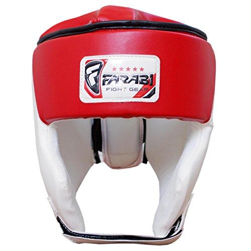 FARABI Protector de Cabeza de Boxeo Kick Boxing Head Protection Rex de Piel Color Rojo y Blanco Small...