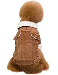 Ropa para Mascotas de Navidad, Gusspower Pulgón de algodón Ropa de Abrigo Invierno Suéter cálido cómodo Chaqueta con Cuello de Piel para Mascotas Gato Perro