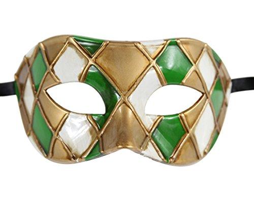 Luxus Maske Herren Vintage Design Masquerade Ball Mardi Gras Holzoptik Gr. Einheitsgröße, Schwarz - Green/Gold (Gold Mardi Gras Mask)