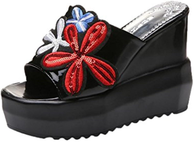 Fuibo Elegant Sandalette Frauen Dick-Bottom Schräge Hausschuhe Bestickt Hochhackige Keile Plateauschuhe Flip Flopö