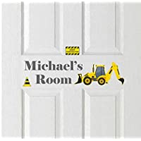 Personalised Construction Digger Door Name Plaque Sign Art vinyl Stickers Perfect for any Digger themed room