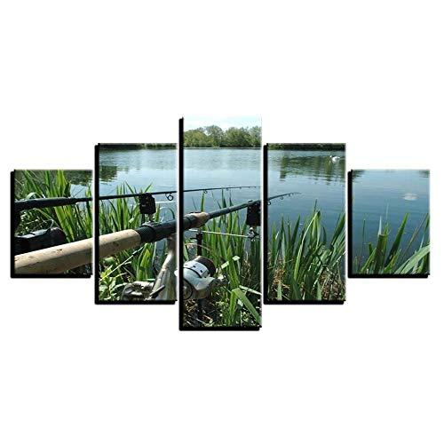 Leinwandbilder Poster/Drucke Lake Modular Wall 5 Panel Angelrute Bilder/Wohnzimmer Home Decor-40x60 40x80 40x100cm ohne Rahmen