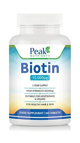 Biotina ad Alta Resistenza (10.000mcg), Integratore per Crescita dei Capelli, 365 compresse (1 Anno Intero di Fornitura), Adatto per Vegetariani e Vegani