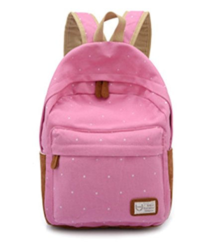 fanselatm-candy-dot-classic-canvas-student-bag-school-backpack-for-girls-pink