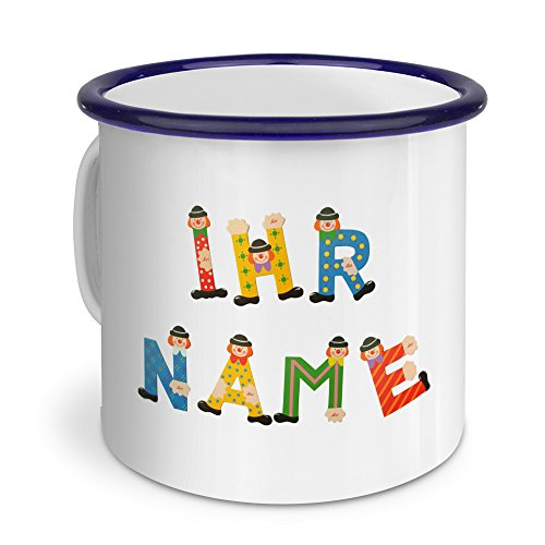 PrintPlanet® Emaille-Tasse mit Namen personalisiert - Motiv Holzbuchstaben - Nostalgie-Becher, Camping-Tasse, Blechtasse,Farbvariante Blau (Nostalgisch Metall Personalisierte)