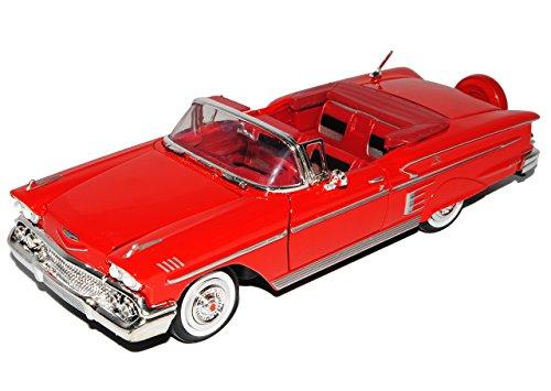 Chevrolet Chevy Impala Cabrio Rot Offen 1958 Oldtimer 1/24 Motormax Modell Auto mit individiuellem - Impala Chevy Auto Modell