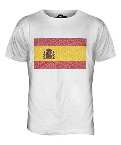 CandyMix Spanien Kritzelte Flagge Herren T Shirt Weiß